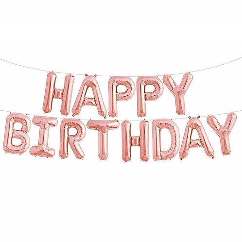 Rose Gold Balloon Happy Birthday Banner Kit