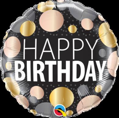 "Birthday Big Metallic Dots 18"" Foil Balloon"