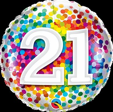 "21 Rainbow Confetti 18"" Foil Balloon"