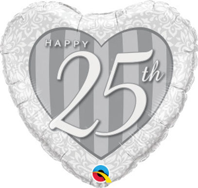"Happy 25th Damask 18"" Foil Balloon"