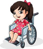 an-asian-girl-riding-on-a-wheelchair-vec