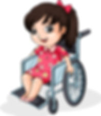 an-asian-girl-riding-on-a-wheelchair-vec