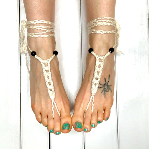 Custom Aromatherapy 100% Vegan Cotton Barefoot Sandals With Lava Beads