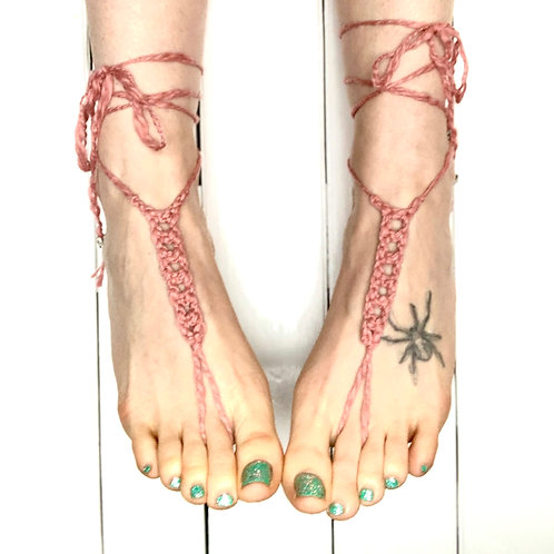 Organic Cotton/Copper Barefoot Sandals Dusty Rose With Glass Beads