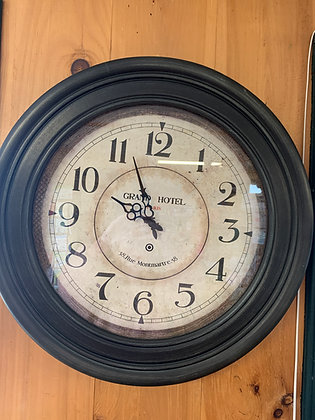 """Grand Hotel"" Black Circle Clock"
