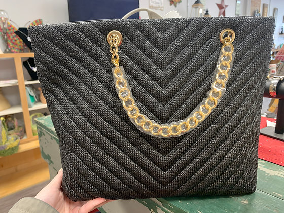 Black Purse with Gold Handle