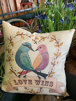 """Indoor/Outdoor """"Love Wins"""" Pillow"""