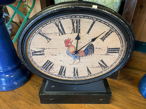 Rustic Black Clock with Rooster