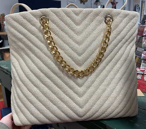 White Purse with Gold Handle