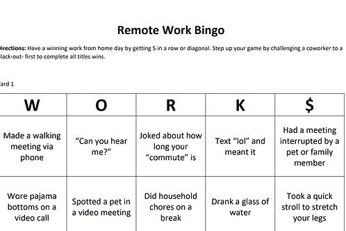 Remote Work Bingo Cards