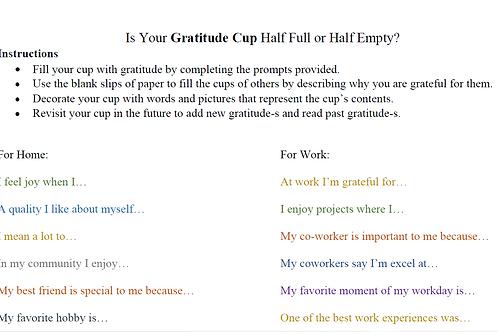 Gratitude Cup Activity