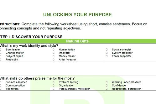 Unlocking Your Purpose Worksheet