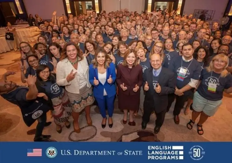Large group of Department of State English Language Fellows