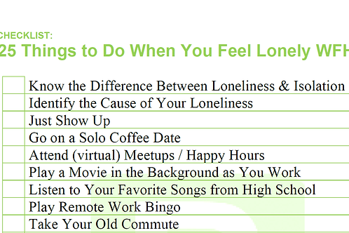 Things to Do When You Feel Lonely List