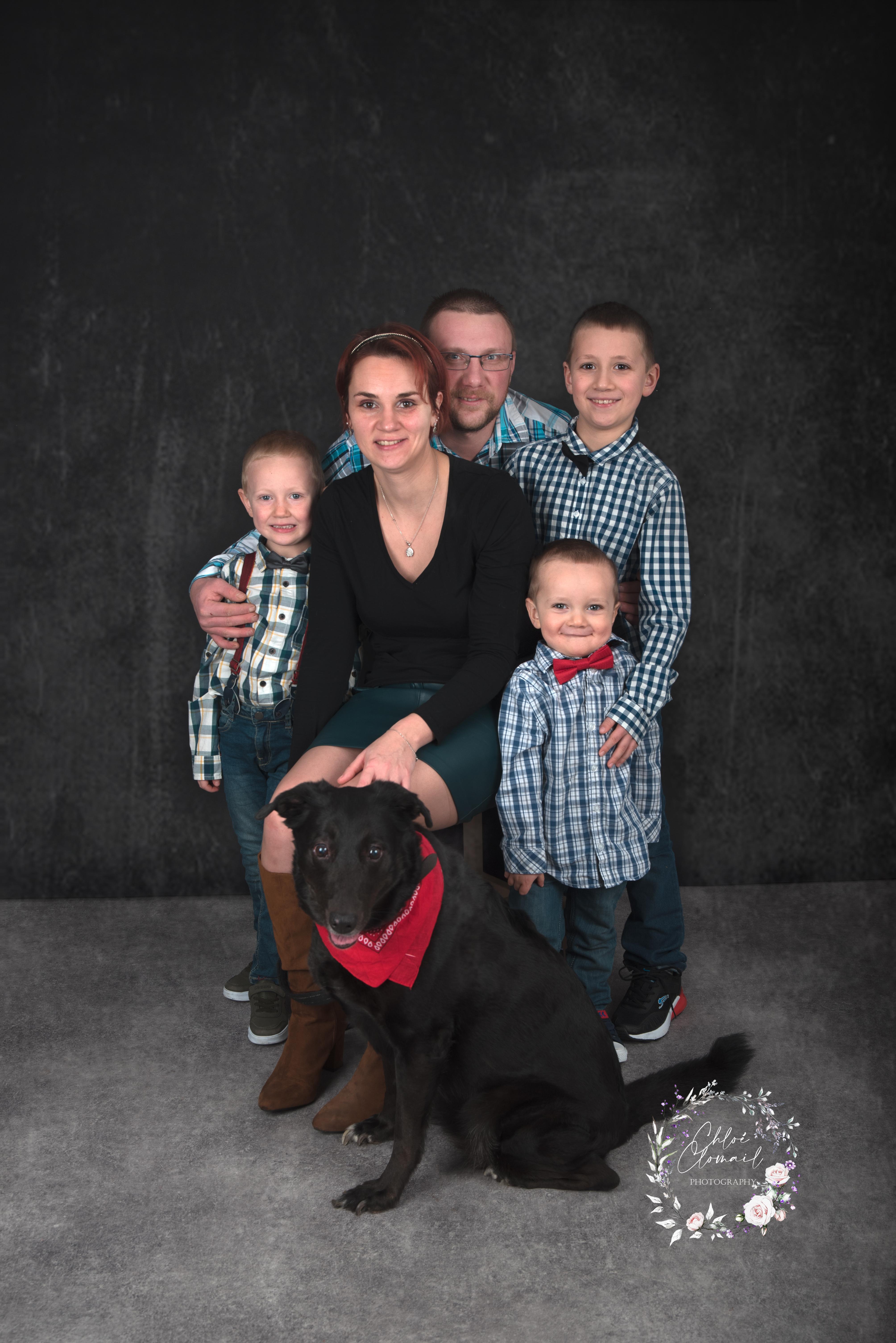 famille studio avec chien