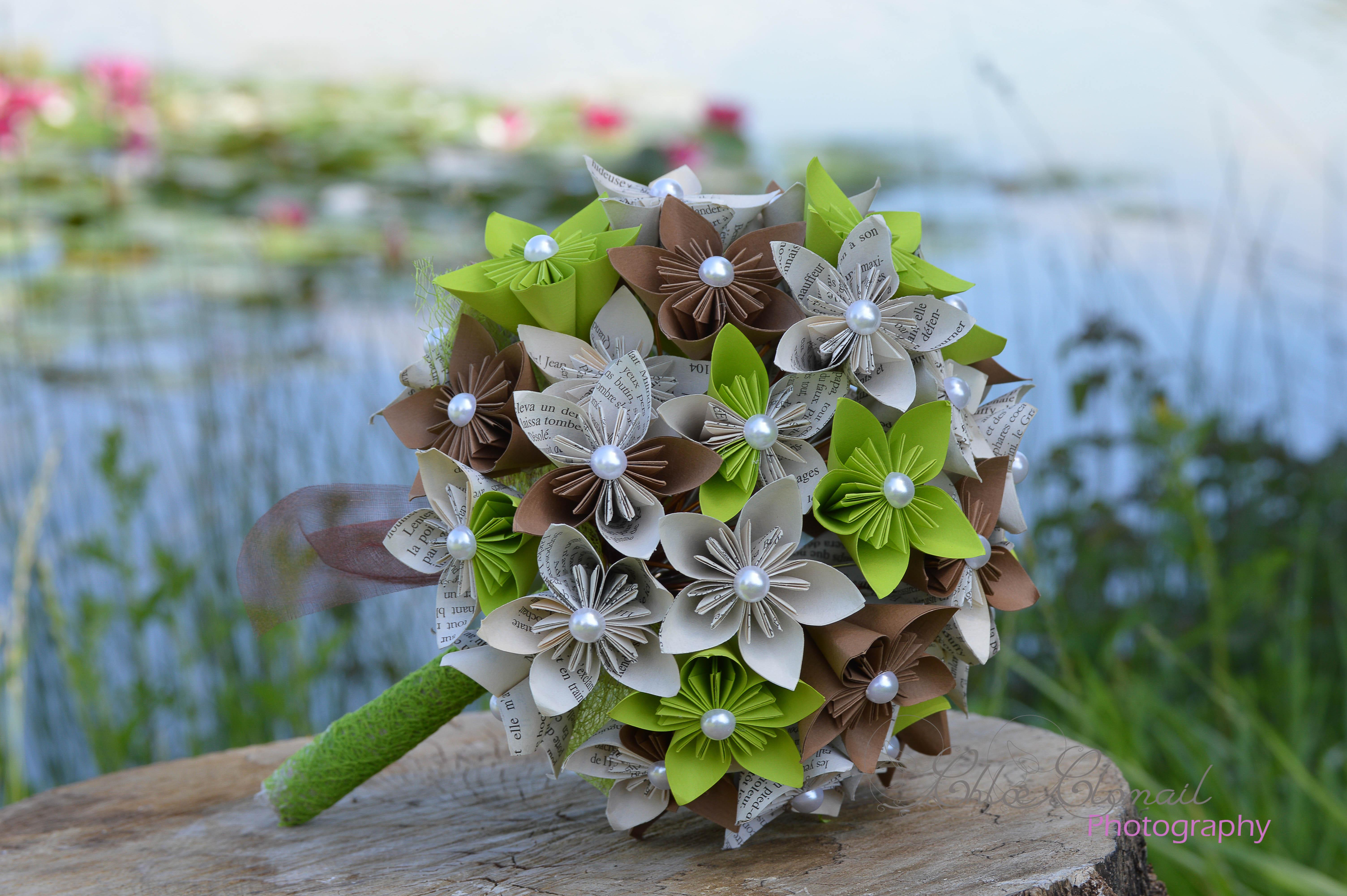 bouquet marié origami