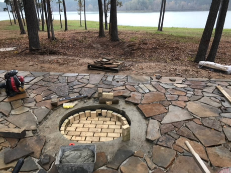 Flagstone Patio and Firepit Install