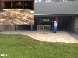 Residential flagstone patio