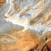 Earth as art:  the Sahara Desert in central Algeria is dotted by fragmented mountains