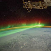 aurora shown from the International Space Station