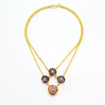 Spiny Oyster + Demantoid Garnet 22k Double Chain