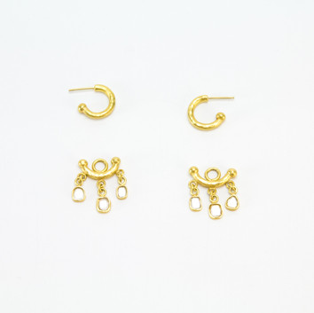 22k Hammered Roman Hoops with Diamond Slice Dangles