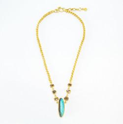 Boulder Opal + Sawn Diamond Crystal 22k