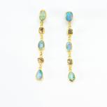 Boulder Opal + Sawn Diamond Crystal 22k Gold Earrings