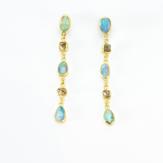 Boulder Opal + Sawn Diamond Crystal Earrings