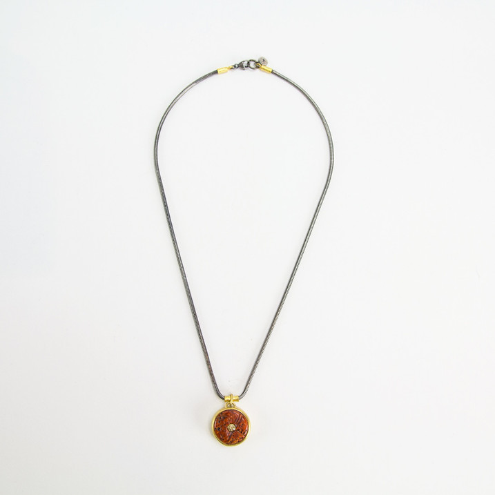 Orange Spiny Oyster + Brown Diamond in 22k Gold on Blackened Silver Chain