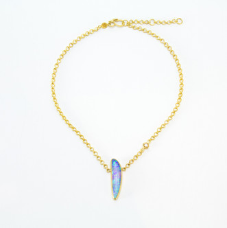 Boulder Opal + Cognac Diamond 22k Necklace