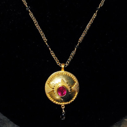 Granulated Dome Necklace with Ruby and Natural Diamond Beads