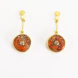 Orange Spiny Oyster + Brown Diamond 22k Gold Pendulum Earrings