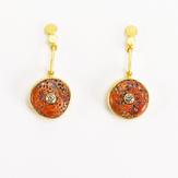 Orange Spiny Oyster + Brown Diamond 22k Pendulum Earrings