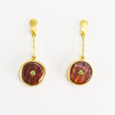 Spiny Oyster + Demantoid Garnet 22k Gold Pendulum Earrings