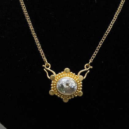 White Sapphire Granulated Pendant in 22k Gold