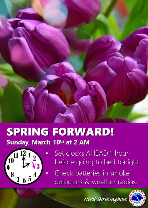 Don't forget to set your clocks ahead by one hour! It is