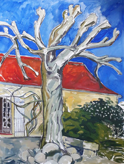 Tree and red roof