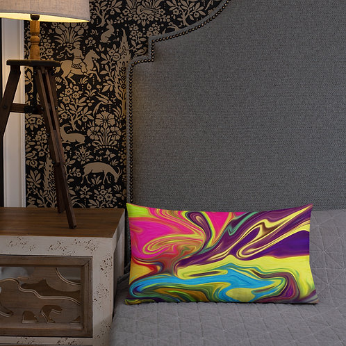 Lemon Yellow, Hot Pink and Deep Purple Abstract Premium Pillow