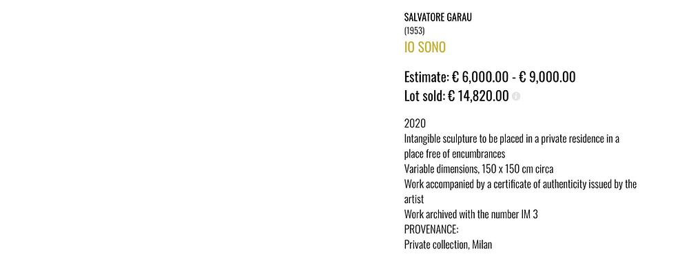salvatore garau IO SONO at auction house Art-Rite