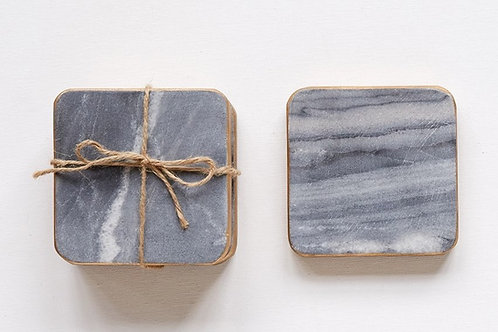 Marble Coasters With Gold Rim White Set Of 4