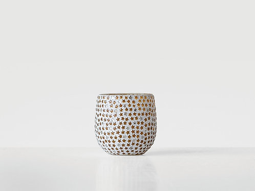 """Glass Votive Candle Holder With Star Mosaic 3"""""""
