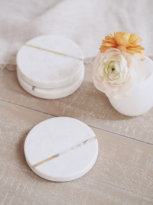 Marble Coasters White Set Of 4