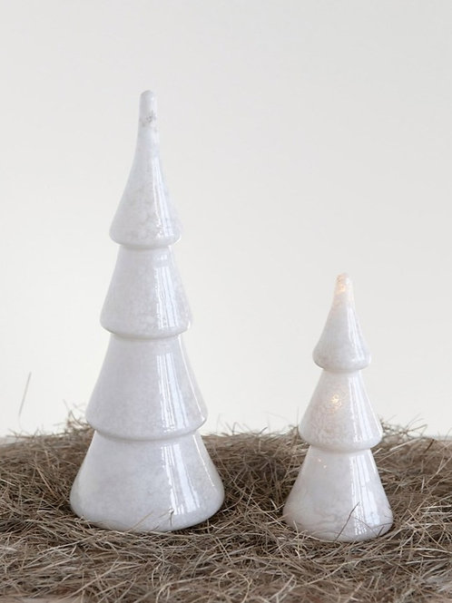 Pearlized White LED Glass Tree