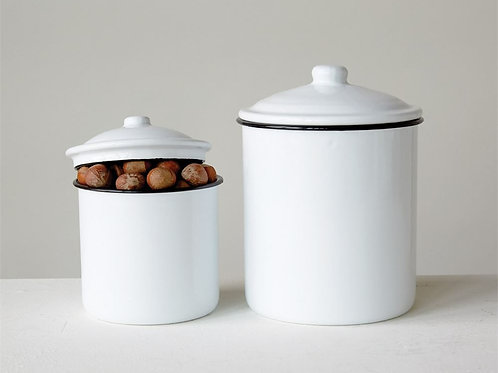 Enameled White With Black Rim Canister Set Of 2