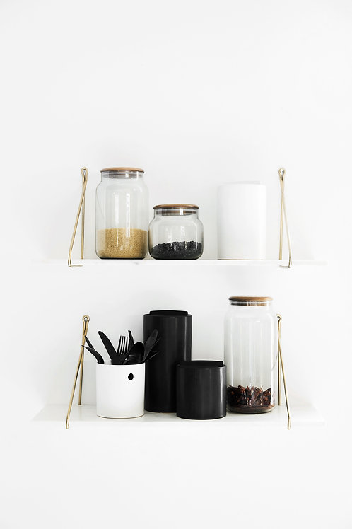 Clear Storage Jar With Oak Lid
