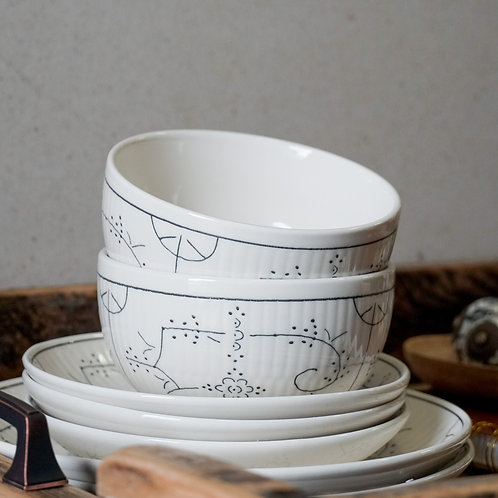 Hand Stamped Ceramic Bowl White And Gray