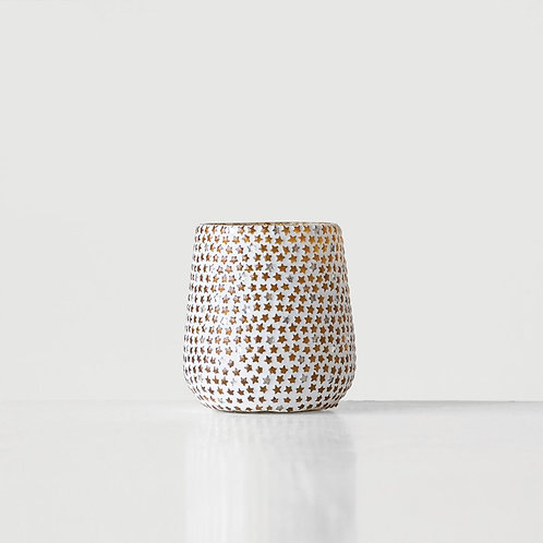 """Glass Votive Candle Holder With Star Mosaic 4"""""""
