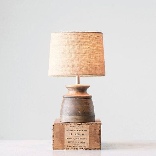 """Wooden Table Lamp 11"""" High"""