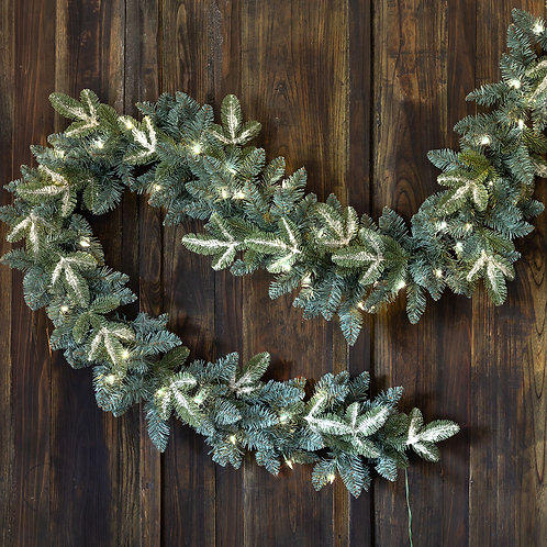 """Frosted Blue Spruce Garland With LED Lights 108"""""""